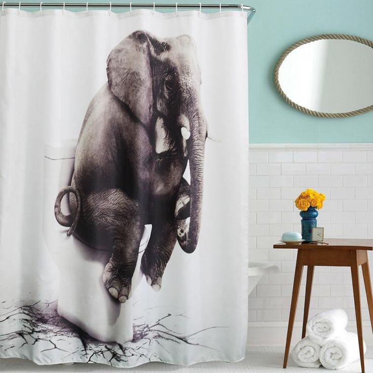 "Original (senHome) 3D Elephant Bathroom Waterproof Polyester Fabric Shower Curtains Washable Curtains  71"" x 71"" w/12 Hooks Hot #Affiliate"