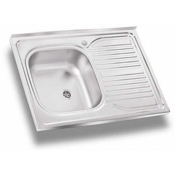 Мойка кухонная стальная накладная 800х600 мм 0,8 мм левая