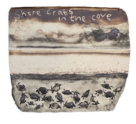 Shore crabs in the cove. 2012 by Kurt Jackson
