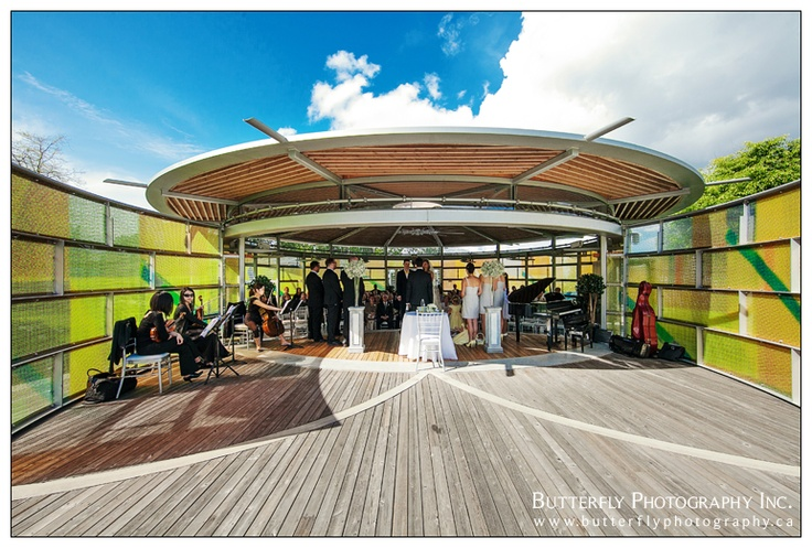 wide angle photo of Queen Elizabeth Park Celebration Pavilion by Vancouver wedding photographers at www.butterflyphotography.ca