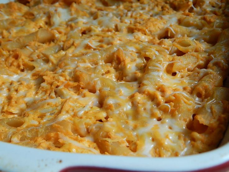 Buffalo chicken pasta bake ... Perfect to use with Skinnytaste's crockpot buffalo chicken :)