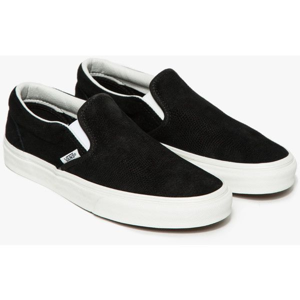 Vans Classic Slip-On Black Lizard ($60) ❤ liked on Polyvore featuring shoes, waffle shoes, cushioned shoes, black slip-on shoes, low top and lizard shoes