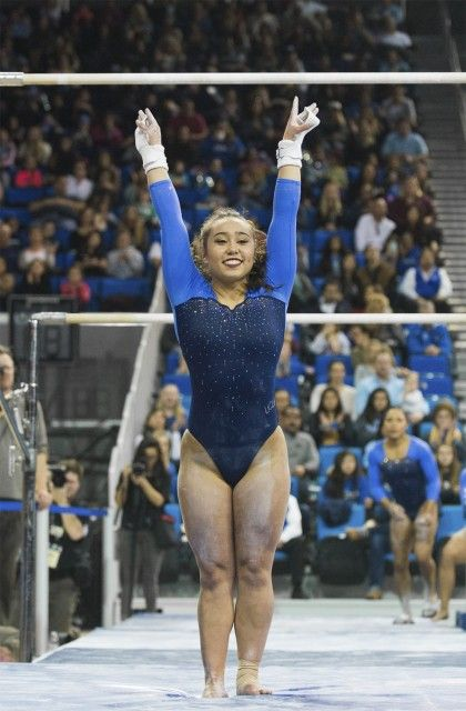 Freshman Katelyn Ohashi scored a career-high 9.825 on the beam, to add to her individual total of 39.375. (Angie Wang/Daily Bruin senior staff)
