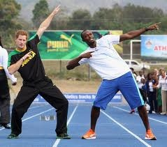 Prince Harry, I mean flash Harry in Jamaica with Usain Bolt