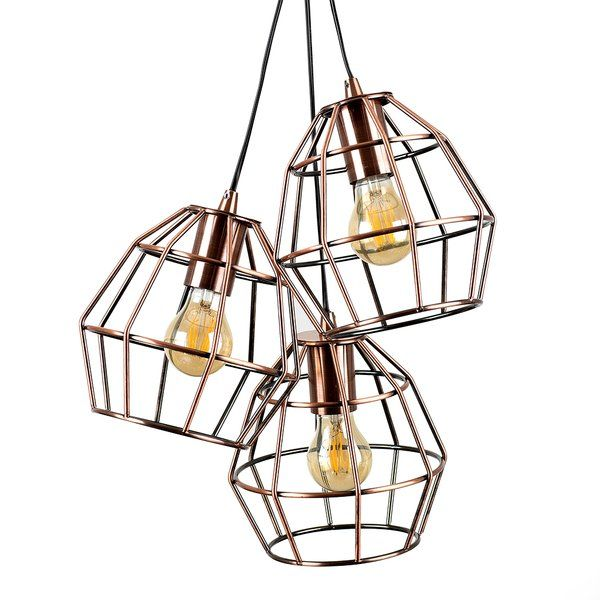 Angus Industrial Wall Light: Angus Industrial Style 3 Way Suspended Ceiling Light