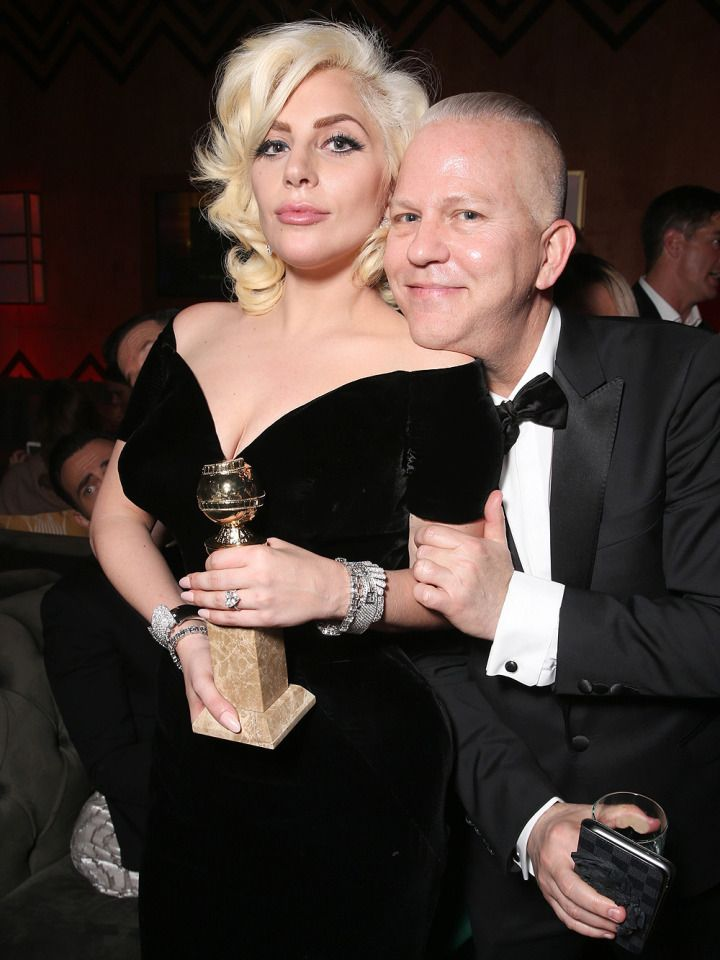Lady Gaga and Ryan Murphy at the Fox and FX party