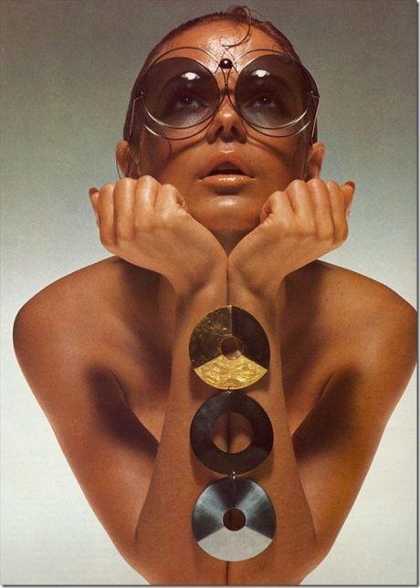 Italian vogue, from 1971. Dior sunglasses.