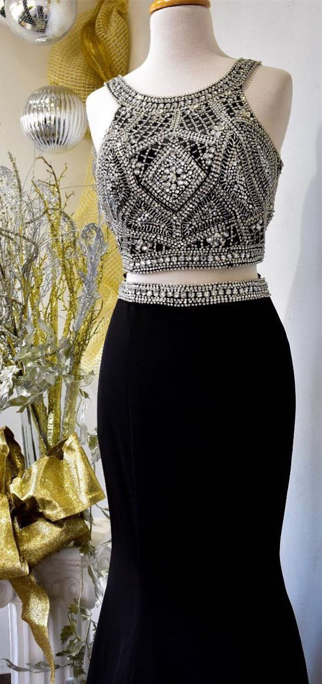 Two piece sparkly sequins mermaid burgundyblack prom dress in