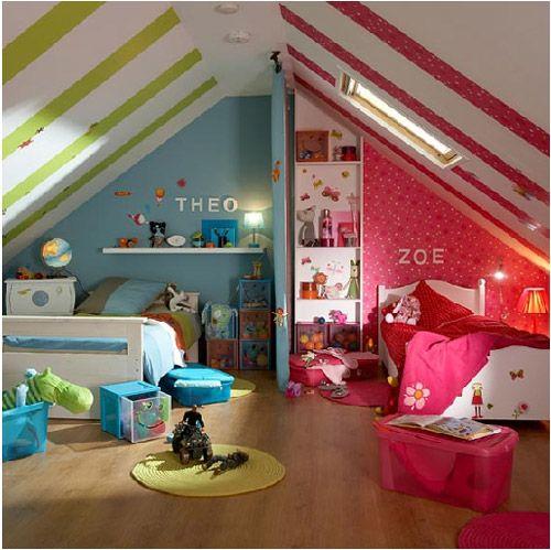 Dormitorios compartidos para niño y niña