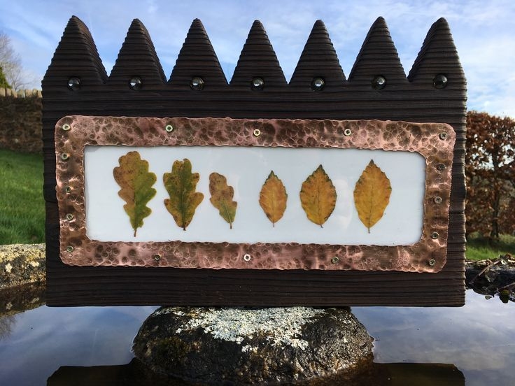 Charred wood, copper, beech and oak leaves by Michael Fairfax
