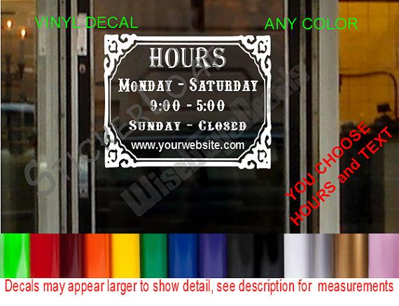 STORE HOURS CuStOm Window Decal Business Shop by StickerLoaf