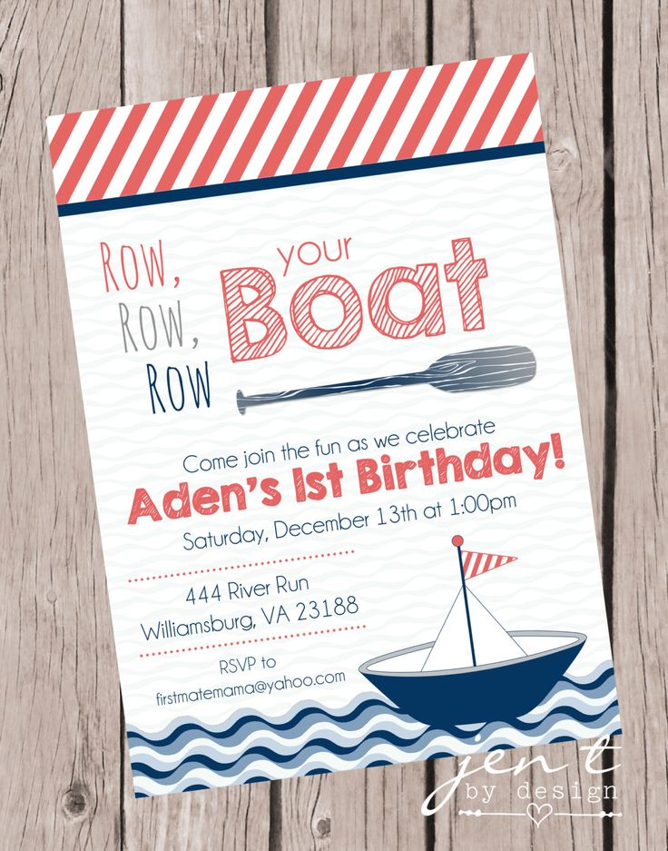 Row Your Boat Invitations First Birthday by JenTbyDesign on Etsy https://www.etsy.com/listing/214851976/row-your-boat-invitations-first-birthday