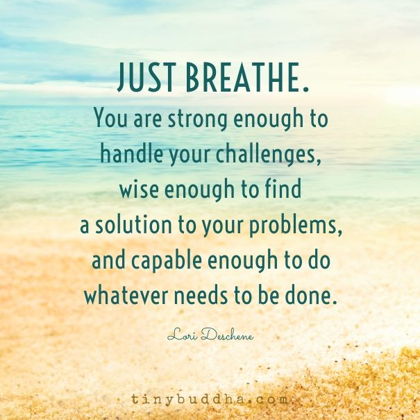 Just breathe. You are strong enough to handle your challenges, wise enough to find a solution to your problems, and capable enough to do whatever needs to be done.