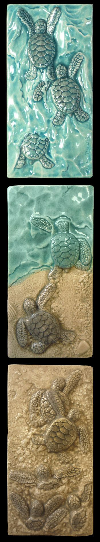 Baby Green Sea Turtles Triptych sold as set of three individual tiles only.  Each tile is 3 in. by 6 in. Each has a cavity in the back for
