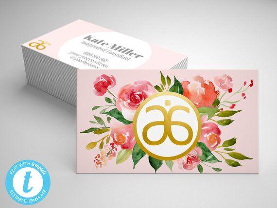 Floral Business Card Template Editable Arbonne Business Card Green Arbonne Card Arbonne M Arbonne Business Cards Business Card Template Arbonne Business