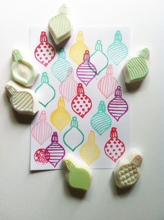 christmas rubber stamps. hand carved rubber stamp. christmas decorations. handmade. CHOOSE ONE on Etsy, $7.00