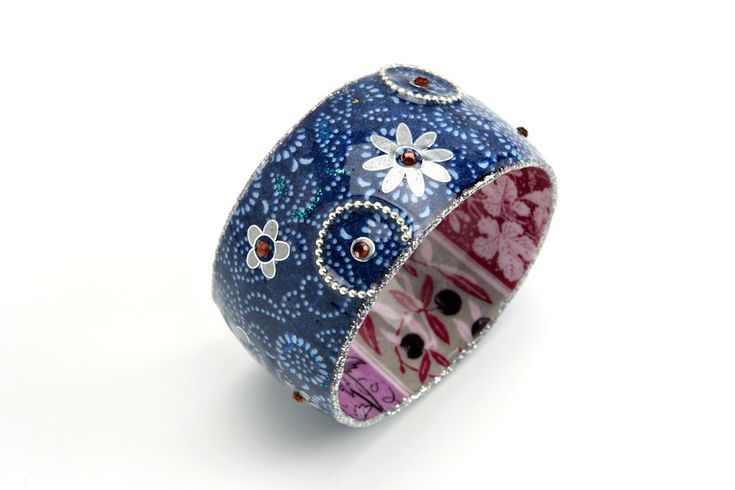 Wide bangle with colorful white and blue flowers print coated resin. $69.00, via Etsy.