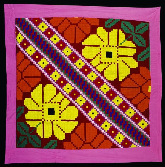 Tivaevae taorei (patch work quilt).  Collection of the Te Papa museum, New Zealand