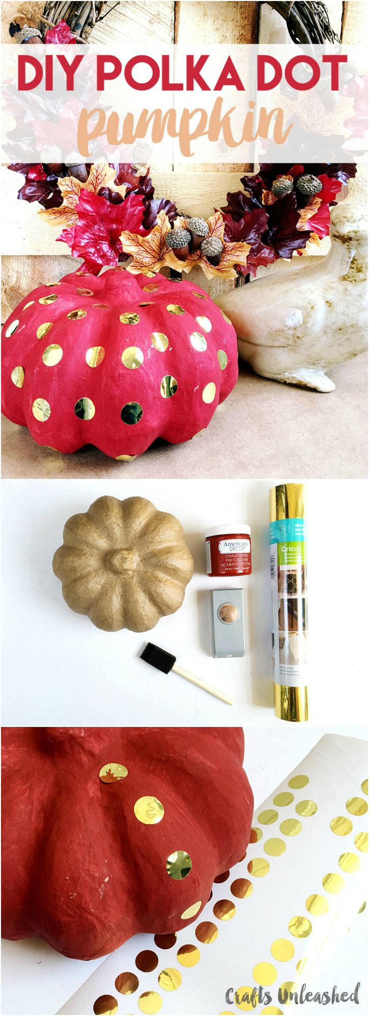 Diy thanksgiving paper decor - Polka Dot Pumpkin Diy With Gold Foil Consumer Crafts