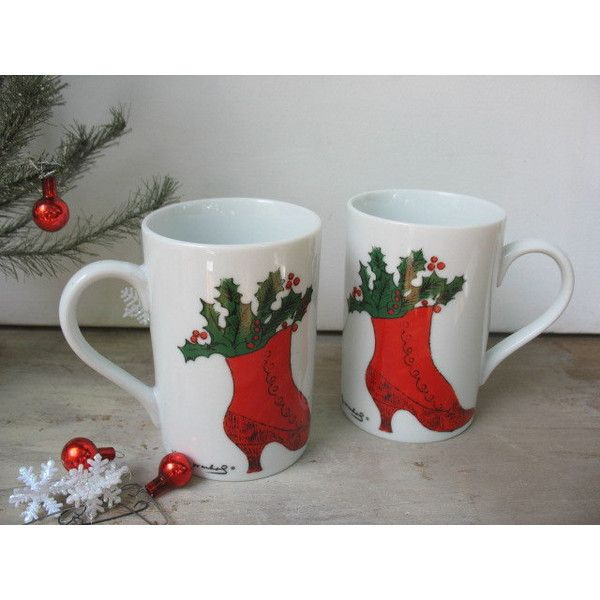 Andy Warhol Christmas Mug Set Of 2 Coffee Cups Red Victorian Boot With... ($35) via Polyvore featuring home, kitchen & dining, drinkware, red coffee cups, holiday cups, andy warhol, red cup and red tea cups