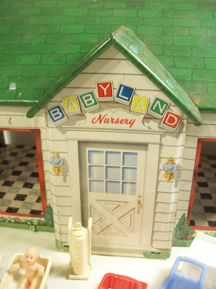 Marx Vintage Babyland Nursery Tin Litho Toy Doll House W Baby Dolls  Furniture | EBay