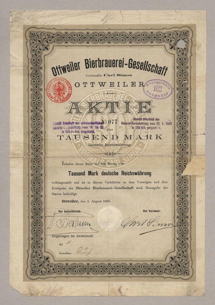 OTTWEILER BIERBRAUEREI Carl Simon – Gründer-Aktie über 1000 Mark, von 1888
