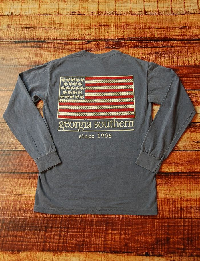 While showing your school spirit on game day, you can show your love for your country as well! With this long-sleeve Comfort Color Georgia Southern Flag t-shirt, you can do just that! Go GSU Eagles!