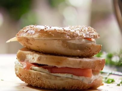 Get this all-star, easy-to-follow Smoked Salmon and Herb Cream Cheese Bagels recipe from Ina Garten