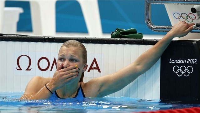 Ruta Meilutyte of Lithuania is emotional after winning the final of the women's 100m Breaststroke on Day 3 of the London 2012 Olympic Games at the Aquatics Centre.