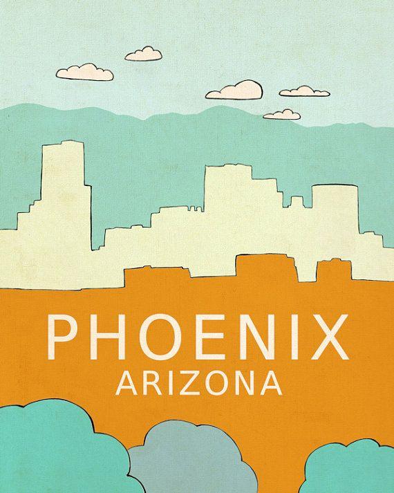 desert chic southwest home decor wall art city travel poster phoenix arizona - Home Decor Phoenix
