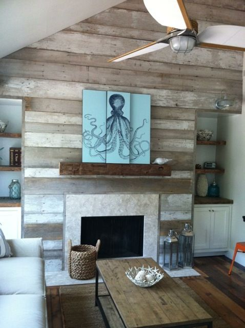 Reclaimed wood accent wall fireplace via fireplaces pinterest - Fire place walls ...