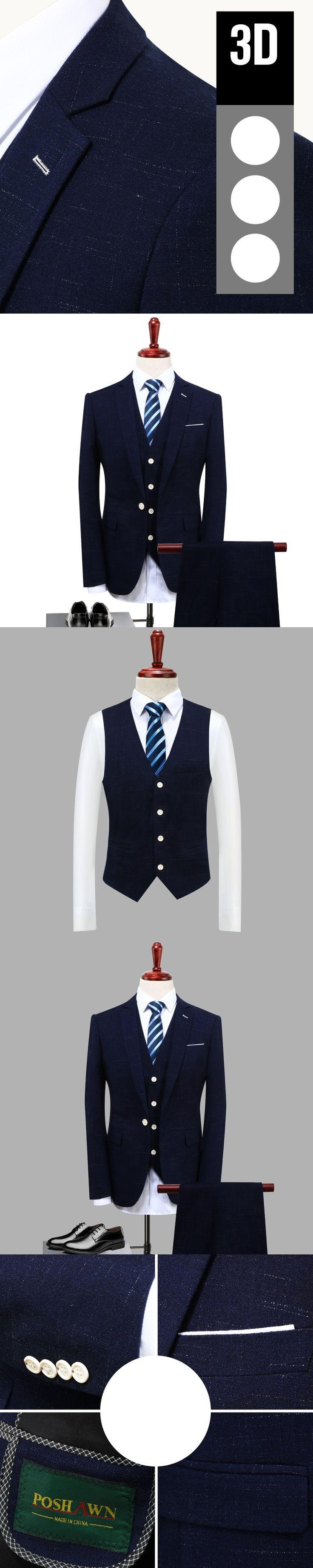 Jacket+vest+pant men suit fashion 2017 autumn new slim fit mens solid dress suits plus size groom wedding blazer business tuxedo