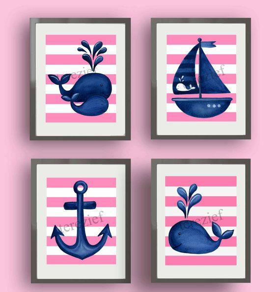 pink navy whale art, whale nursery wall art, hampton whale art, children Kids Art PRINTS, whale bathroom artwork