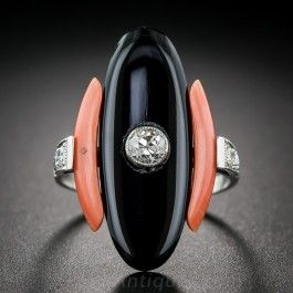 Art Deco Coral, Black Onyx and Diamond Dinner Ring - What's New