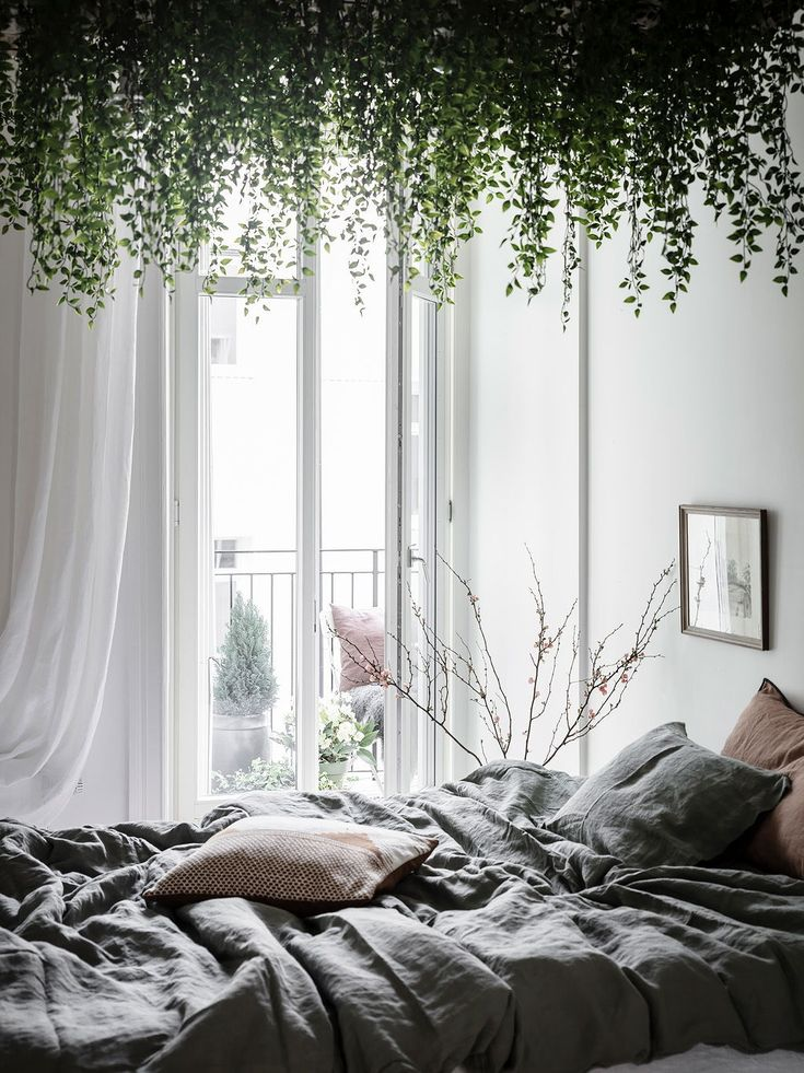 Contrasting White Home With Lots Of Plants Bedroom Decor