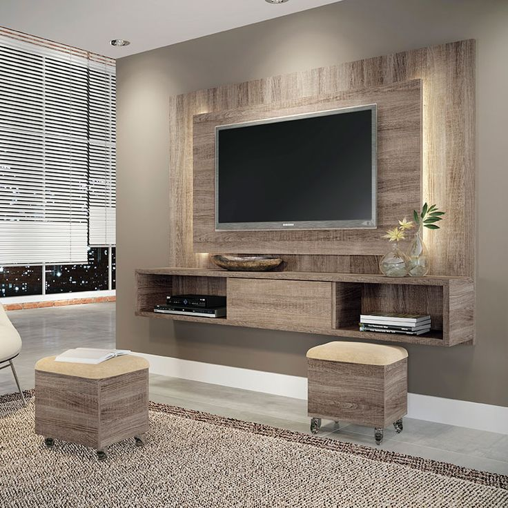 Beautiful Great How The Backlighting Works. Also The Tv Unit Is Raised So You Could  Fit Extra Seating.   Conjunto Sala De Estar Lume Com Puff Roble  Graffiato/Suede ...
