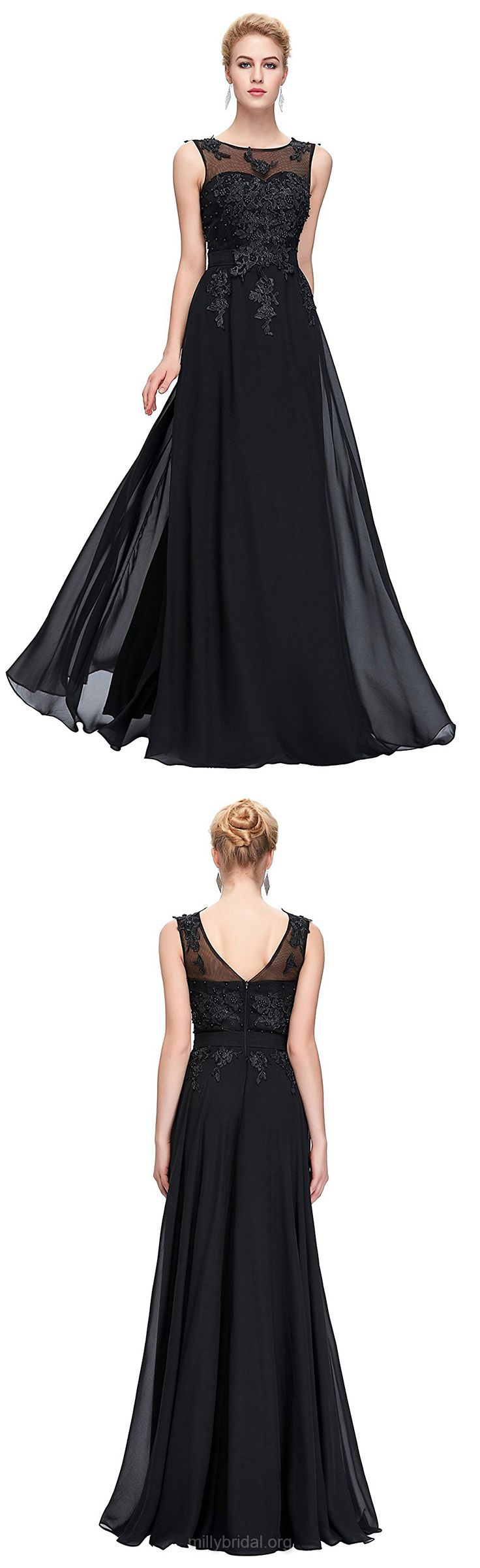 Black Prom Dresses, Long Prom Dresses, 2018 Prom Dresses A-line Scoop Neck, Chiffon Prom Dresses Tulle with Sashes / Ribbons Modest
