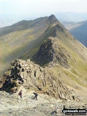 Striding Edge from Helvellyn. Walk route map c220 Helvellyn via Striding Edge from Glenridding photo
