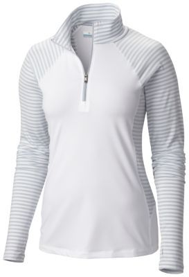 Stretchy, flattering, and UPF 50 sun protecting, this women's half-zip long sleeve has the winning formula for active outdoor days. It's sweat wicking and supremely comfortable, with ergonomic seaming lines featuring thumbholes for the perfect secure fit.