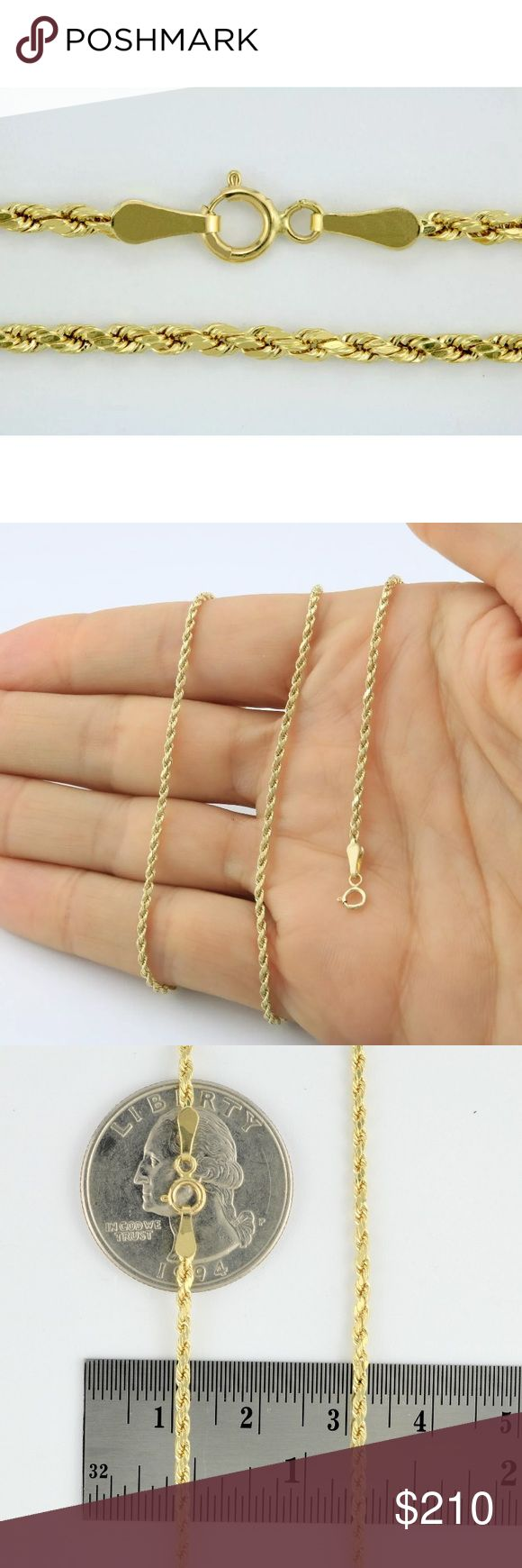 """SOLID GOLD Rope Chain 10K 18"""" Necklace Solid Gold Rope Chain made with Solid 10K Gold. This chain is 18"""" Long, stamped 10K for authenticity. This chain was made in Italy with expert craftmanship. Made with 100% Solid 10K Gold will never tarnish or fade. Accessories Jewelry"""