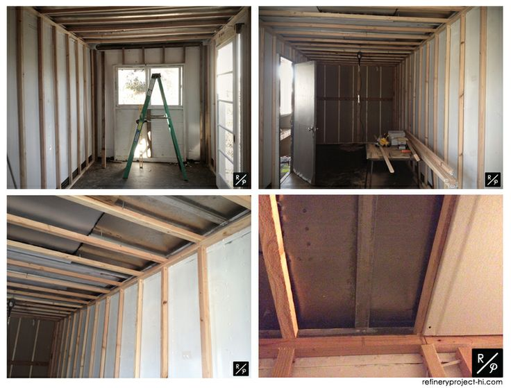 framing inside a shipping container ready to be drywalled