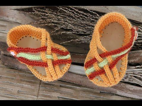 Sandalias crochet cruzadas para bebé con suela de caucho - YouTube