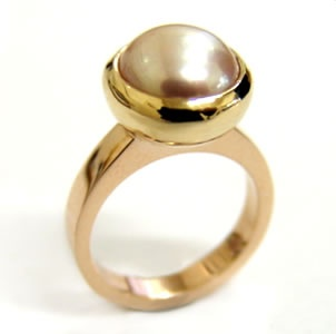 9ct gold and Mabe pearl ring made at Cameron Jewellery