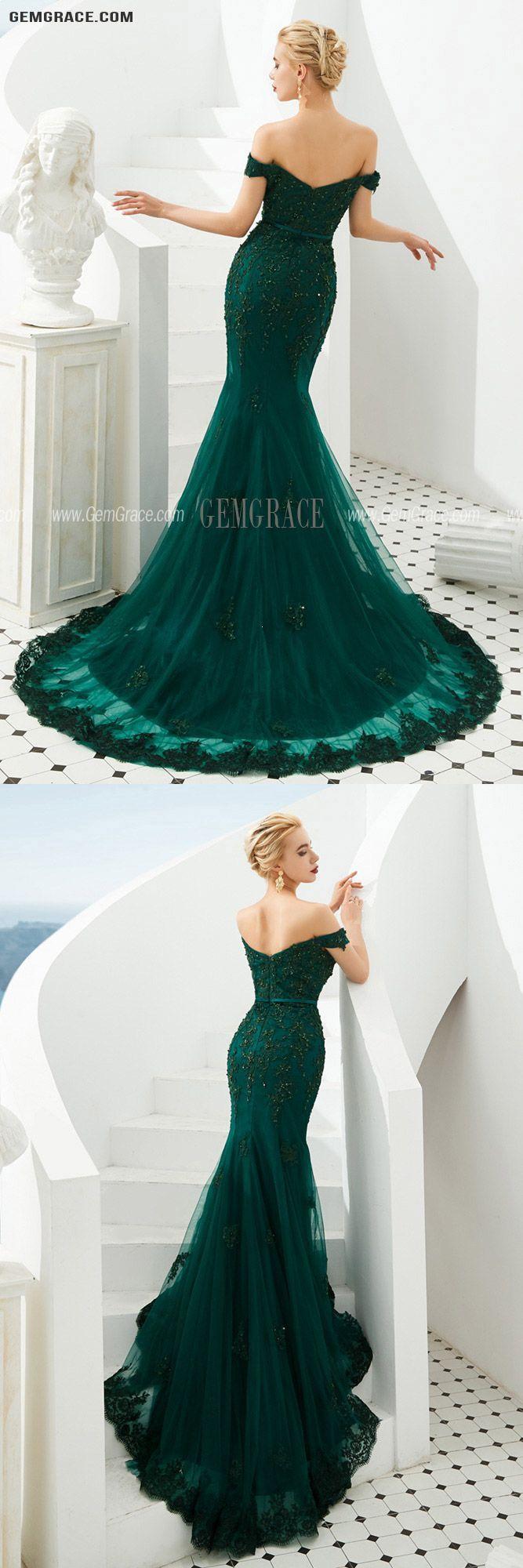 151 89 Mermaid Green Lace Beading Prom Formal Dress With Off Shoulder Strap Ez35338 Gemgrace Com Formal Dresses Award Show Dresses Mermaid Evening Dresses [ 2000 x 667 Pixel ]