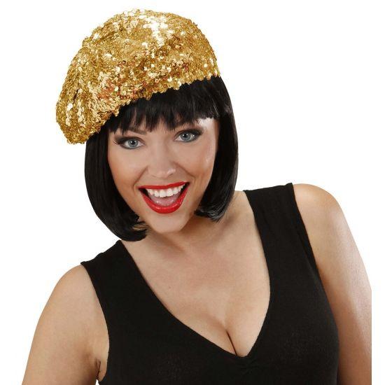 Glitter dames muts goud. Muts voor dames met gouden pailletten. Maat: One size.