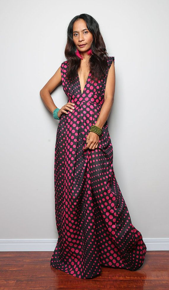 Hey, I found this really awesome Etsy listing at https://www.etsy.com/listing/189654610/summer-maxi-dress-funky-polka-dot-dress
