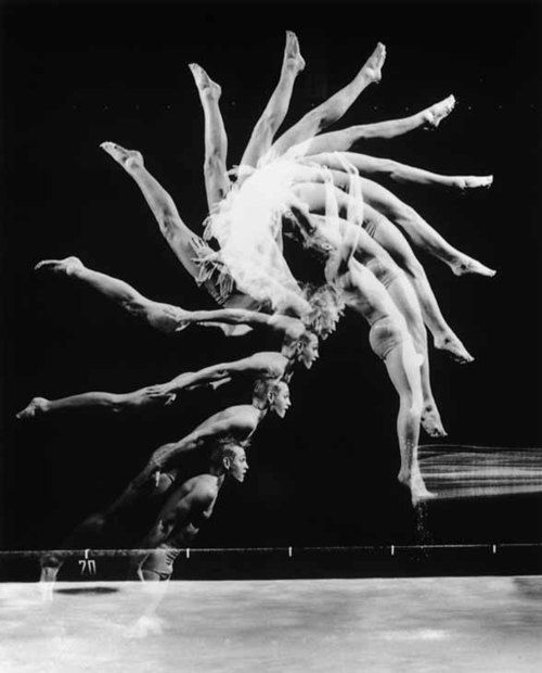 "Harold Eugene Edgerton: Description: (curated)    Multiflash reveals the magnificent geometry of motion as a talented diver, Burt West, flips backwards in a procedure that lasted less than half a second; taken in 1954. West was prepareing a manual for divers, and engaged Harold E. Edgerton to assist him. (from ""Stopping Time"" (1987), p. 6) (CC) Wonderful documentation on this website of this great photographer"