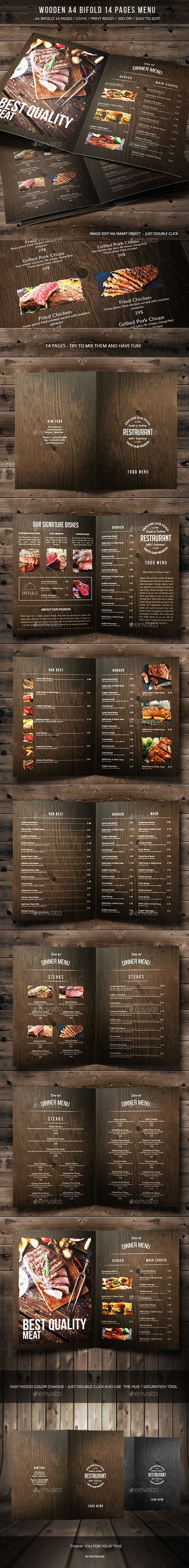 Wooden A4 Bifold 14 Pages Menu — Photoshop PSD #print template #restaurant • Available here → https://graphicriver.net/item/wooden-a4-bifold-14-pages-menu/17415665?ref=pxcr