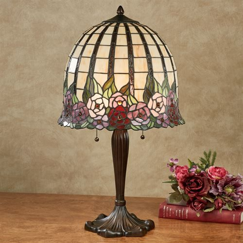 Edena Stained Glass Table Lamp Multi Pastel Each with LED Bulbs