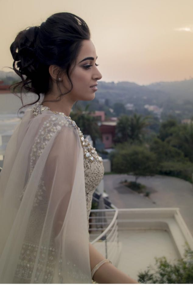#engagement #hair #upstyle #curls #makeup #nude #gold #dress #cape